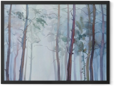 Foggy forest watercolor background Framed Poster