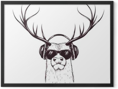 deer in music headphones Framed Poster