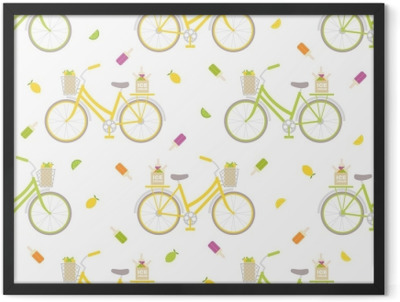 Seamless pattern with colorful bicycle, ice cream and lemons. Great for wrapping paper, posters, backgrounds for the site. Framed Poster