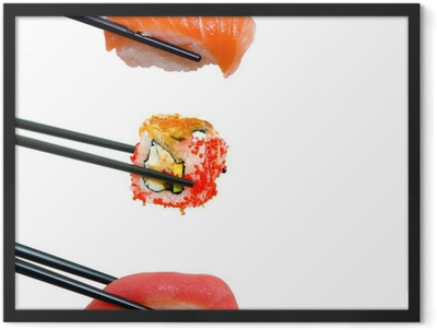 Sushi with chopsticks Framed Poster