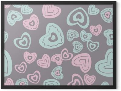 seamless heart pattern Framed Poster