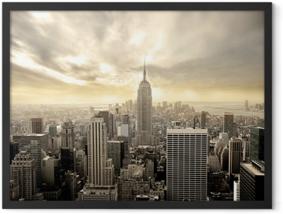 Cloudy sky over Manhattan Framed Poster