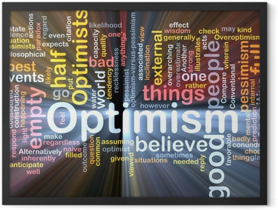 Optimism word cloud glowing Framed Poster