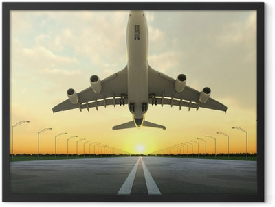 takeoff plane in airport at sunset Framed Poster