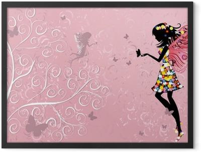 Flower Fairy near patterned wood Framed Poster