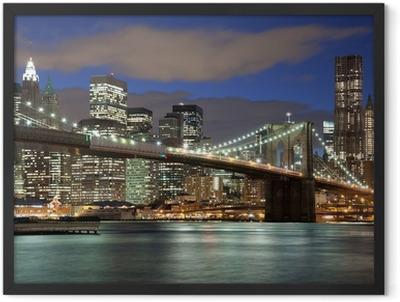 New York City skyline- Brooklyn Bridge Framed Poster