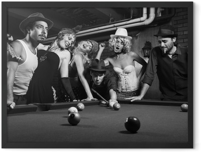 retro group trying to distract man as he takes pool shot. Framed Poster