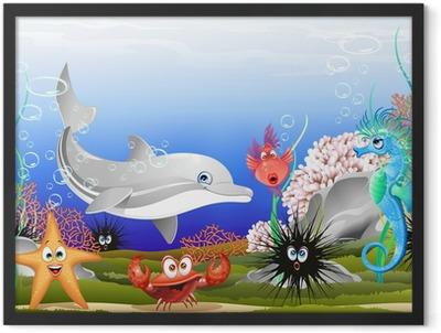 Animali Mare Sfondo Marino-Sea Animals Background-Vector Framed Poster