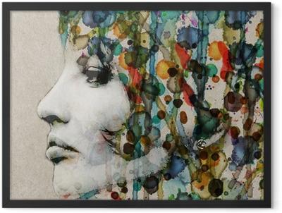 Watercolor female profile Framed Poster