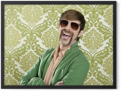geek retro salesperson man funny mustache Framed Poster