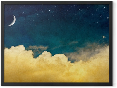Moon and Cloudscape Framed Poster