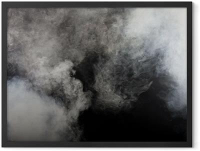 White smoke on black background. Isolated. Framed Poster