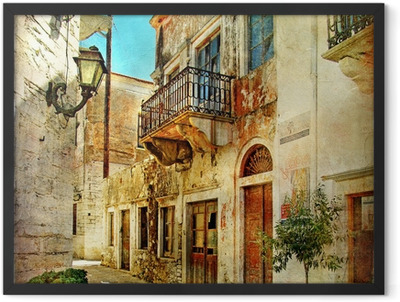 pictorial old streets of Greece Framed Poster