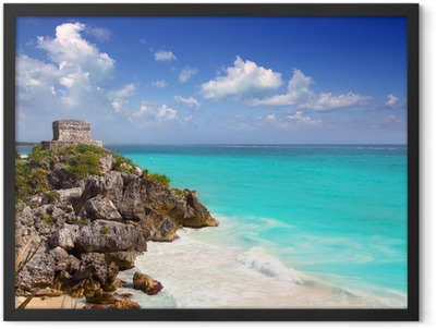 ancient Mayan ruins Tulum Caribbean turquoise Framed Poster