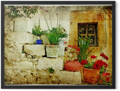 old villages of Greece - artistic retro style Framed Poster