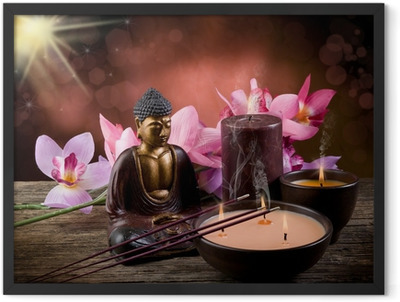 buddah witn candle and incense Framed Poster