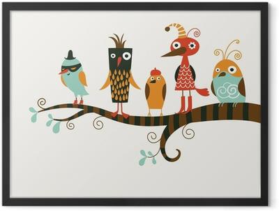 five funny birds Framed Poster