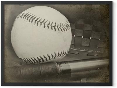 Póster Enmarcado Imagen stlye grungle retro vintage de béisbol y un guante con la edad