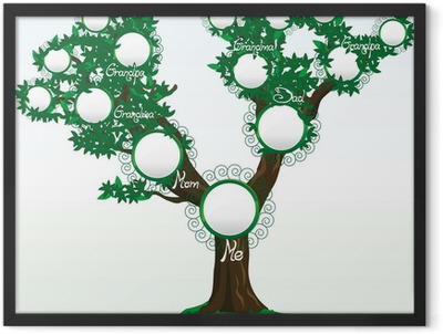 Family tree with place for photos or names, vector Framed Poster