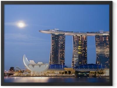 Moon over Marina Bay Sands Framed Poster