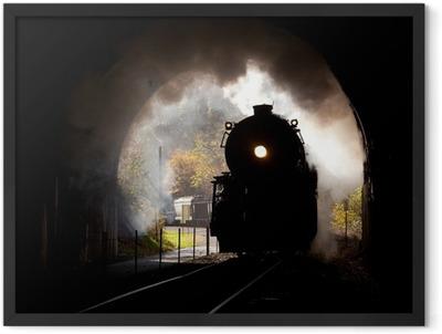 Steam locomotive enters tunnel Framed Poster