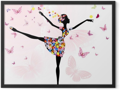 ballerina girl with flowers with butterflies Framed Poster