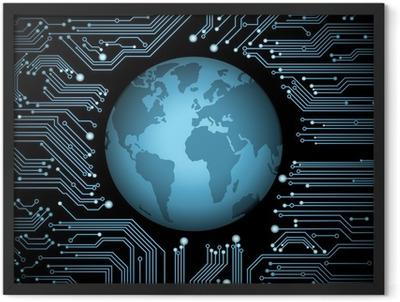 circuit board globe Framed Poster