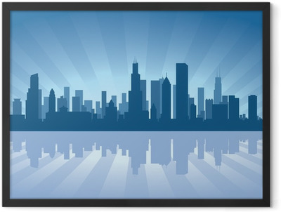 Chicago skyline with reflection in water Framed Poster
