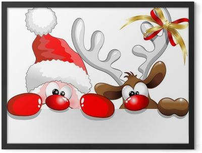 Babbo Natale e Renna-Santa Claus and Reindeer Background Framed Poster
