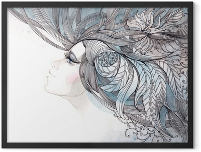 her hair ornate with foliage Framed Poster