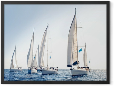 Sailing ship yachts with white sails Framed Poster