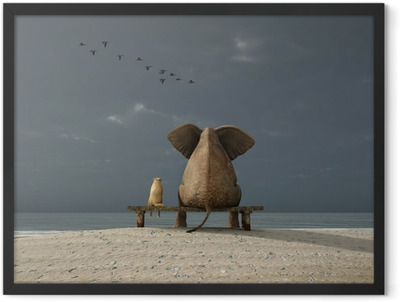 elephant and dog sit on a beach Framed Poster