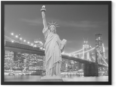 Brooklyn Bridge and The Statue of Liberty at Night Framed Poster