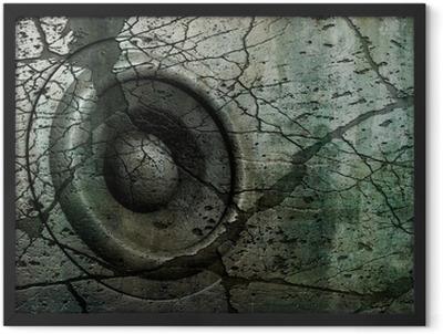 blue HD 3d render grunge old speaker sound system deejay DJ Framed Poster