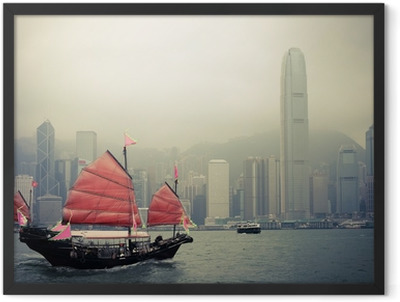 chinese style sailboat in Hong Kong Framed Poster