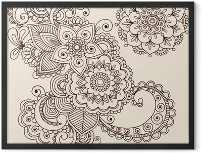 Henna Tattoo Abstract Paisley Flower Doodles Vector Framed Poster