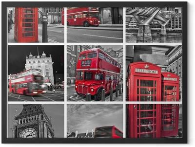 Collage monochrome Londres (UK) Framed Poster