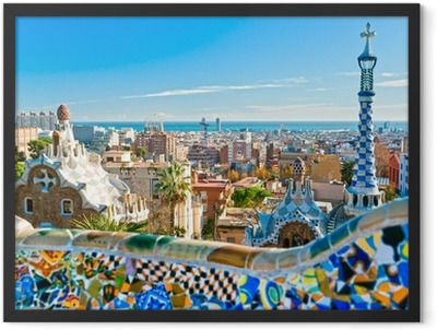 Park Guell in Barcelona, Spain. Framed Poster