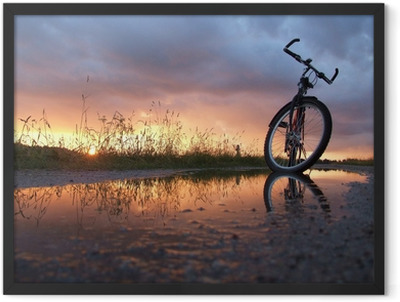 Bycicle in the puddle Framed Poster