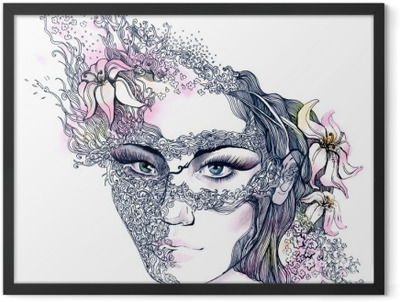 floral decorated face Framed Poster