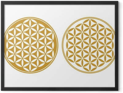 Blume des Lebens - Schutz Symbol, Heilige Geometrie Framed Poster