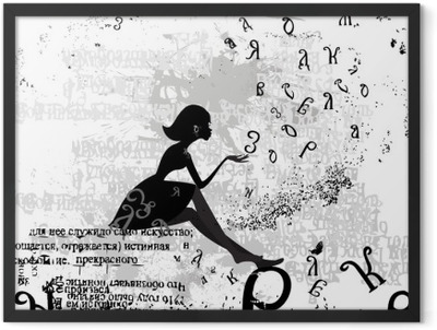 abstract design with a girl grunge text Framed Poster