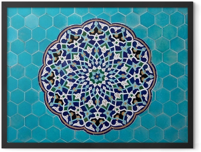 Islamic mosaic pattern with blue tiles Framed Poster