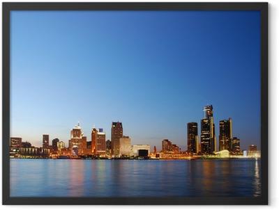 City skyline by night (Detroit, Michigan) Framed Poster