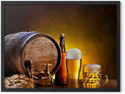 Beer barrel with beer glasses on a wooden table. Framed Poster