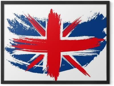 Union Jack Flag Sketched Framed Poster