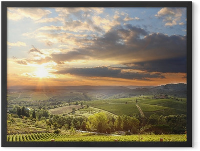 Chianti vineyard landscape in Tuscany, Italy Framed Poster