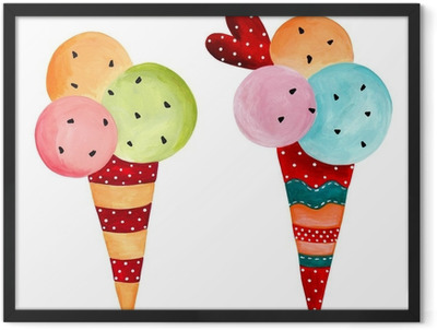 ice-cream. watercolors on paper Framed Poster