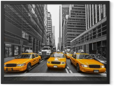 TYellow taxis in New York City, USA. Framed Poster