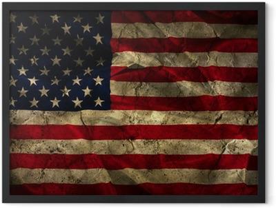 Grunge American flag background Framed Poster